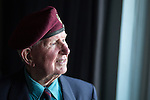 © Joel Goodman . 1 June 2013 . Salford , UK . Former paratrooper , Ivor Anderson (89) (correct), landed on Normandy on D-Day . He's one of a dwindling number of soldiers who's still alive and able to return to the region this June . Photo credit : Joel Goodman