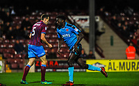 Fleetwood Town's forward Jordy Hiwula (7) gets the ball out of the net during the Sky Bet League 1 match between Scunthorpe United and Fleetwood Town at Glanford Park, Scunthorpe, England on 17 October 2017. Photo by Stephen Buckley/PRiME Media Images