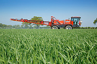 Applying fungicide to winter barley - Norfolk, May