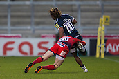 24th March 2018, AJ Bell Stadium, Salford, England; Aviva Premiership rugby, Sale Sharks versus Worcester Warriors; Josh Adams of Worcester Warriors can't stop Marland Yarde of Sale Sharks on route to scoring a try