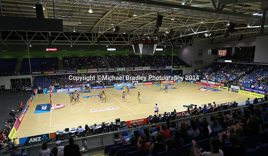 10.03.2014 Action during the ANZ Champs match between the Northern Mystics and Hairer Pulse played at the Trusts Arena in Auckland. ©Michael Bradley.