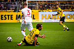 11.05.2019, Signal Iduna Park, Dortmund, GER, 1.FBL, Borussia Dortmund vs Fortuna D&uuml;sseldorf, DFL REGULATIONS PROHIBIT ANY USE OF PHOTOGRAPHS AS IMAGE SEQUENCES AND/OR QUASI-VIDEO<br /> <br /> im Bild | picture shows:<br /> Andre Hoffmann (Fortuna #3) erarbeitet sich den Ball von Mario Goetze (Borussia Dortmund #10), <br /> <br /> Foto &copy; nordphoto / Rauch