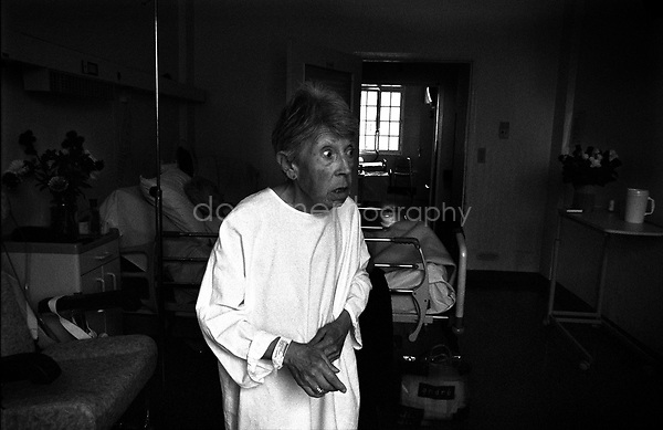 """""""why did you leave me here, nurses are not nice with me, they are violent. There is also a stranger under my bed who comes at some point to scare me"""". Every time we go and visit my grandmother we don't know how we will find her, hysterical or deply depressed and stressed. At some stage it is not even possible for her to make a proper sentence...© Magali Corouge/Documentography.2004-2006.France"""