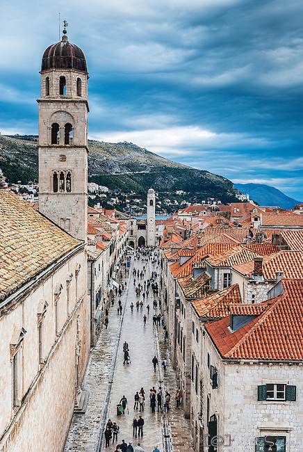 Looking down Stradun, Dubrovnik's main street from the city's walls.