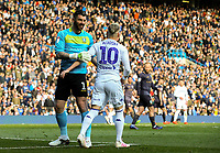 Sheffield Wednesday's Keiren Westwood shares a moment with Leeds United's Ezgjan Alioski<br /> <br /> Photographer Alex Dodd/CameraSport<br /> <br /> The EFL Sky Bet Championship - Leeds United v Sheffield Wednesday - Saturday 13th April 2019 - Elland Road - Leeds<br /> <br /> World Copyright © 2019 CameraSport. All rights reserved. 43 Linden Ave. Countesthorpe. Leicester. England. LE8 5PG - Tel: +44 (0) 116 277 4147 - admin@camerasport.com - www.camerasport.com
