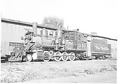 3/4 fireman's-side view of C-19 #340 beside Montrose engine house.<br /> D&amp;RGW  Montrose, CO  Taken by Dunscomb, Guy L. - 9/1950
