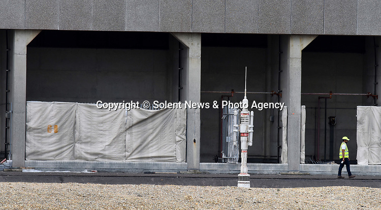 Pictured:  FLASHBACK TO 2017:  Part of the Star Wars set at Fawley Power Station in Hampshire.<br /> <br /> An iconic power station which has featured in Hollywood films including Star Wars was today destroyed in a controlled explosion.  Fawley Power Station has dominated the Hampshire skyline for almost half a century, and provided the set for films such as 'Mission: Impossible – Rogue Nation' and 'Solo: A Star Wars Story'.<br /> <br /> The main body of the power station, which was decommissioned in 2013, was destroyed today ahead of a proposed £1bn redevelopment scheme.  Demolition contractor Brown and Mason spent the last two years preparing for today's explosion which is the first phase in a two-year plan to demolish the entire site.  SEE OUR COPY FOR DETAILS.<br /> <br /> © Solent News & Photo Agency<br /> UK +44 (0) 2380 458800
