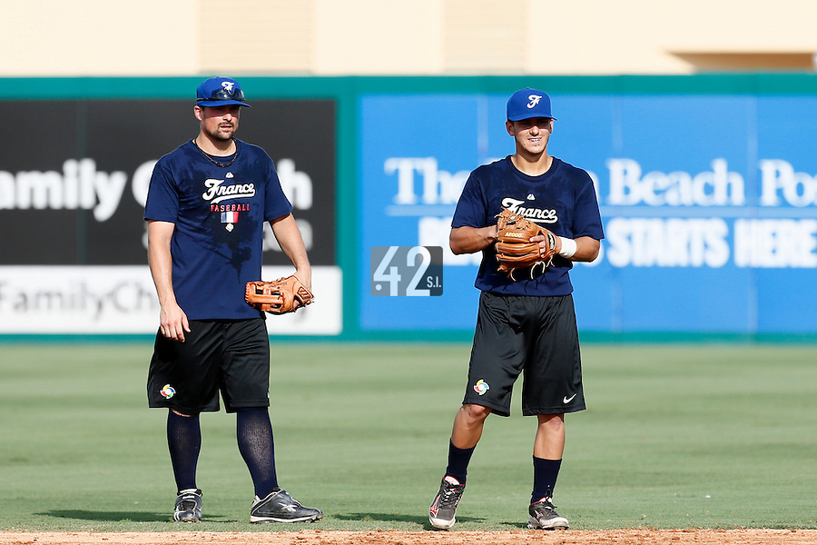 18 September 2012: France Florian Peyrichou and Maxime Lefevre are seen during Team France practice, at the 2012 World Baseball Classic Qualifier round, in Jupiter, Florida, USA.