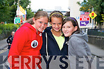 Caoimhe Walsh (Tarbert), Eimear Walsh (Ballylongford) and Amy O'Connor (Tralee) getting ready for Jedward at Denny Street Stage on Friday.