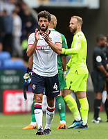 Bolton Wanderers' Jason Lowe applauds the home fans at the end of the match<br /> <br /> Photographer Andrew Kearns/CameraSport<br /> <br /> The EFL Sky Bet Championship - Bolton Wanderers v Bristol City - Saturday August 11th 2018 - University of Bolton Stadium - Bolton<br /> <br /> World Copyright &copy; 2018 CameraSport. All rights reserved. 43 Linden Ave. Countesthorpe. Leicester. England. LE8 5PG - Tel: +44 (0) 116 277 4147 - admin@camerasport.com - www.camerasport.com