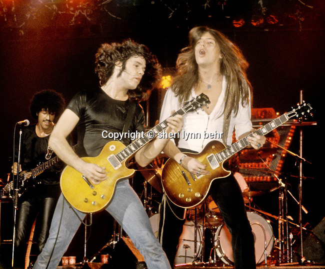 Phil Lynott, Gary Moore and Scott Gorham of Thin Lizzy onstage at the Palladium in NYC in September, 1978