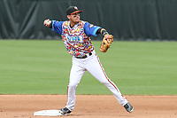 Bowie, MD - May 21, 2017: Bowie Baysox shortstop Erick Salcedo (9) turns a double play during the MiLB game between Binghamton and Bowie at  Baysox Stadium in Bowie, MD.  (Photo by Elliott Brown/Media Images International)