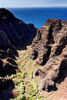 Aerial view of Na Pali cliffs, Kaua'i