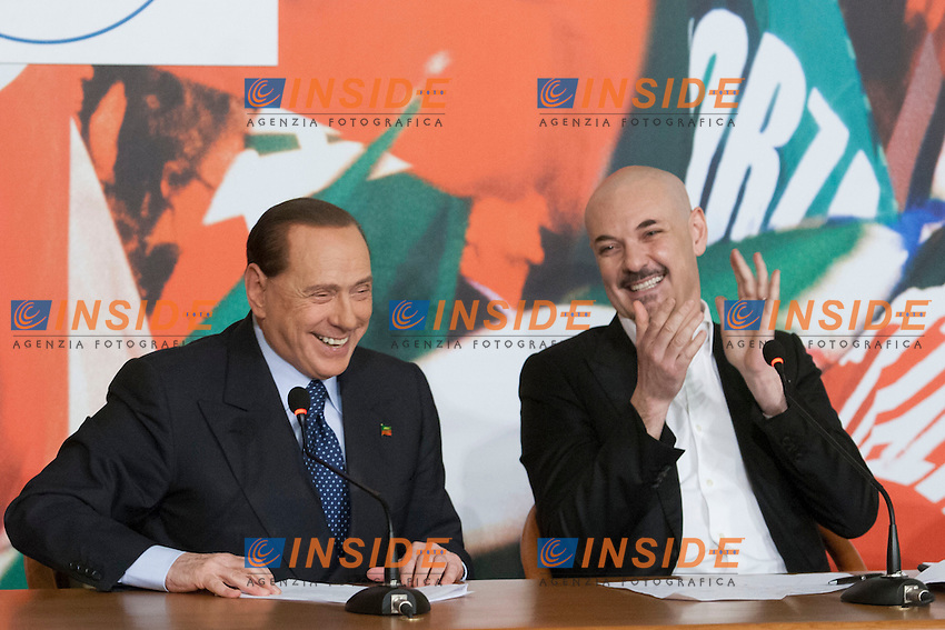 Silvio Berlusconi ed Edoardo Silos Labini<br /> Roma 07-05-2014 Sede di Forza Italia. Conferenza stampa sulle politiche per la cultura.<br /> Press conference on Forza Italia Culture Program<br /> Photo Samantha Zucchi Insidefoto
