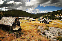 Old buildings sits on the hillsides surrounding Elkhorn, Montana.