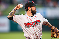 Nashville Sounds third baseman Ryan Roberts (19) makes a throw to first base during the Pacific Coast League baseball game against the Oklahoma City Dodgers on June 12, 2015 at Chickasaw Bricktown Ballpark in Oklahoma City, Oklahoma. The Dodgers defeated the Sounds 11-7. (Andrew Woolley/Four Seam Images)