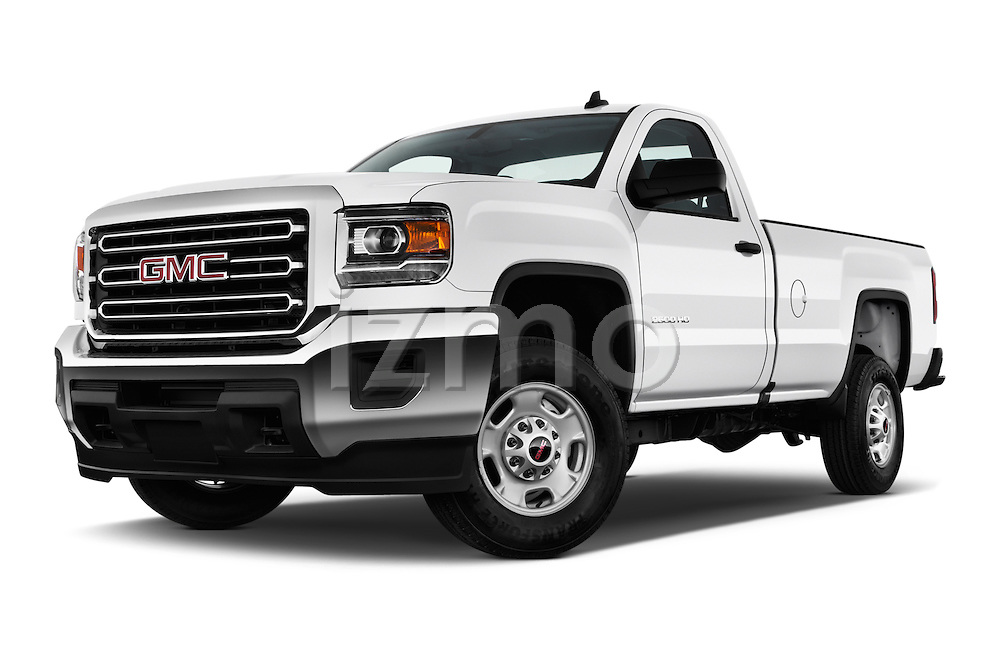 Stock pictures of low aggressive front three quarter view of 2016 GMC Sierra-2500HD 2WD-Regular-Cab-Long-Box 2 Door Pick-up Low Aggressive