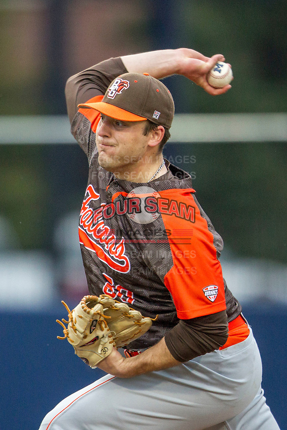 Bowling Green Falcons pitcher Trevor Farrell (30) delivers a pitch to the plate against the Michigan Wolverines on April 6, 2016 at Ray Fisher Stadium in Ann Arbor, Michigan. Michigan defeated Bowling Green 5-0. (Andrew Woolley/Four Seam Images)