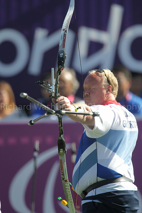 Paralympics London 2012 - ParalympicsGB - Archery..Men's Team Recurve - Open 5th September 2012 held at the Royal Artillery Barracks,  Paralympic Games in London. Photo: Richard Washbrooke/ParalympicsGB) Kenny Allen, competing against the Republic of Korea in the semi final