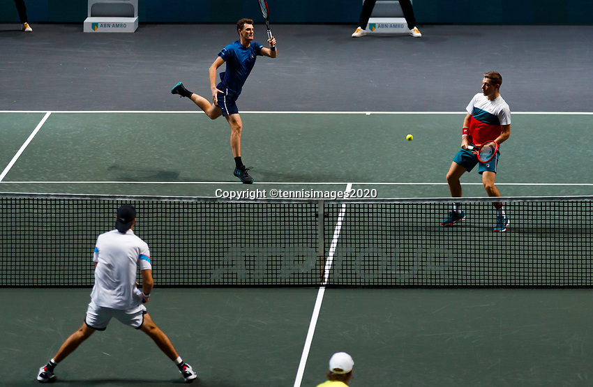 Rotterdam, The Netherlands, 14 Februari 2020, ABNAMRO World Tennis Tournament, Ahoy, Doubles: Henri Kotinen (FIN) and Jan-Lennard Struff (GER), Jamier Murray (GBR) and Neal Skupski (GBR).<br /> Photo: www.tennisimages.com