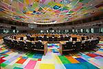 Una vista de la sala S5 la más grande dentro del edificio Europa que se utiliza para las reuniones del Consejo Europeo, dentro de la sede del Consejo de la Unión Europea y del Consejo Europeo, donde los jefes de gobierno y el ministro europeos celebran sus reuniones en ocasiones especiales del Consejo Europeo. La sala está situada en el nuevo edificio denominado EUROPA en Bruselas, Dic. 6, 2017.<br /> ---<br /> MANDATORY COPYRIGHT FOR THE IMAGE: Copyright building:<br /> Philippe Samyn and Partners architects and engineers -lead and design partner Studio Valle Progettazioni architects Buro Happold engineers.<br /> Colour compositions by Georges Meurant. <br /> ---<br /> Europa Building en Bruselas acoge reuniones de jefes de gobierno de la UE Europa Building se inauguró durante la presidencia maltesa. La prensa dijo que el edificio en forma de huevo está encerrado en un cubo de vidrio. Su construcción se mantuvo en secreto, ya que el entonces primer ministro británico, David Cameron, criticó duramente lo que consideraba un gasto típicamente innecesario de la UE.<br /> PHOTO CREDIT © DELMI ALVAREZ