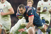 Twickenham, United Kingdom.  France Full Back, Scott SPEDDING, during the RBS. Six Nations : England   vs France  at the  RFU Stadium, Twickenham, England, <br /> <br /> Saturday  04/02/2017<br /> <br /> [Mandatory Credit; Peter Spurrier/Intersport-images]