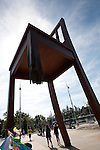 Broken Chair Sculpture at the Place des Nations in support of the Mine Ban Treaty, Geneva, Switzerland