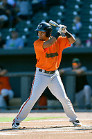 Shortstop Carlos Garcia (7) of the Augusta GreenJackets bats in a game against the Columbia Fireflieon Sunday, July 30, 2017, at Spirit Communications Park in Columbia, South Carolina. Augusta won, 6-0. (Tom Priddy/Four Seam Images)