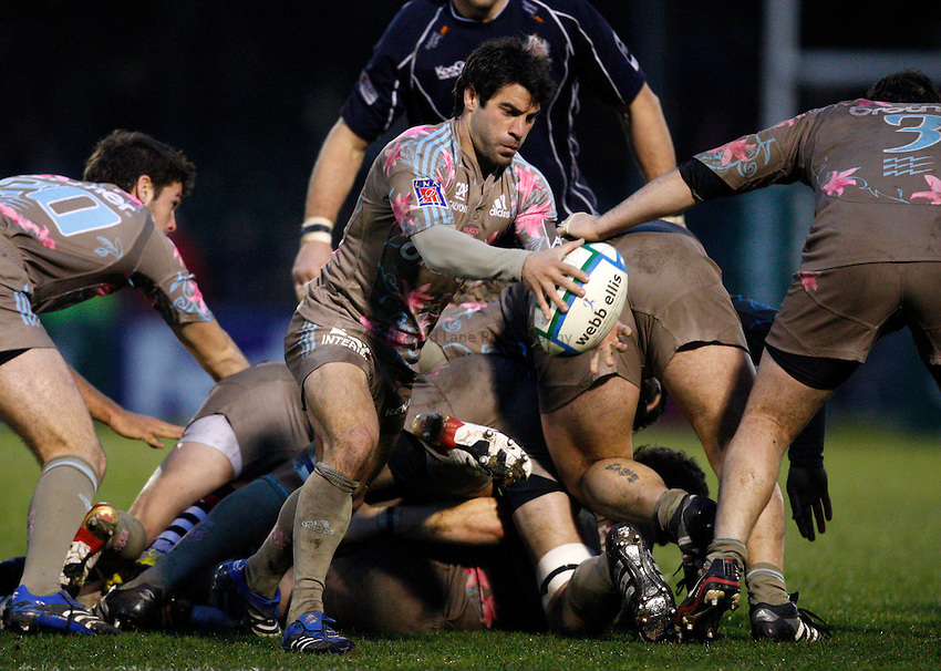 Photo: Richard Lane/Richard Lane Photography..Bristol Rugby v Stade Francais. Heineken Cup. 18/11/2007. .Stade's Jerome Fillol kicks clear.