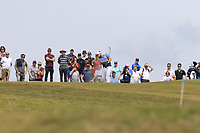 Tyrrell Hatton (ENG) plays his 2nd shot on the 6th hole during Thursday's Round 1 of the Dubai Duty Free Irish Open 2019, held at Lahinch Golf Club, Lahinch, Ireland. 4th July 2019.<br /> Picture: Eoin Clarke | Golffile<br /> <br /> <br /> All photos usage must carry mandatory copyright credit (© Golffile | Eoin Clarke)