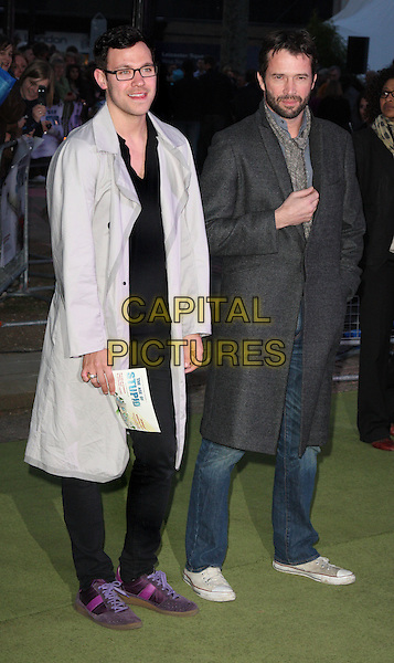 "WILL YOUNG & JAMES PUREFOY.UK Premiere of ""The Age of Stupid"" held in a Solar Powered Tent in Leicester Square, London, England..March 15th, 2009.full length white grey gray jacket coat trench black jeans denim .CAP/ROS.©Steve Ross/Capital Pictures"