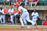 Greenville Reds Justin Gomez (26) runs to first base during a game against the Elizabethton Twins at Pioneer Park on June 29, 2019 in Greeneville, Tennessee. The Twins defeated the Reds 8-1. (Tony Farlow/Four Seam Images)