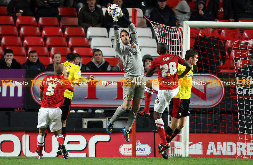 Manuel Almunia of Watford claims a cross - Charlton Athletic vs Watford, npower Championship at The Valley, Charlton - 02/10/12 - MANDATORY CREDIT: Rob Newell/TGSPHOTO - Self billing applies where appropriate - 0845 094 6026 - contact@tgsphoto.co.uk - NO UNPAID USE.