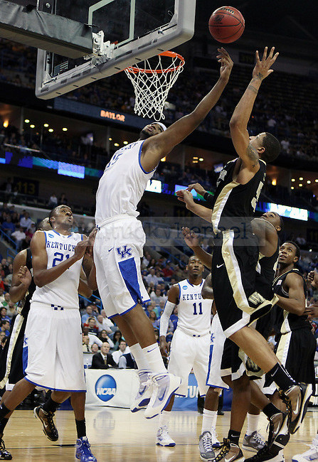Freshman forward DeMarcus Cousins blocks a shot during the first half of UK's second round  win over Wake Forest in the NCAA tournament at New Orleans Arena on Saturday, March 20, 2010. Photo by Britney McIntosh | Staff