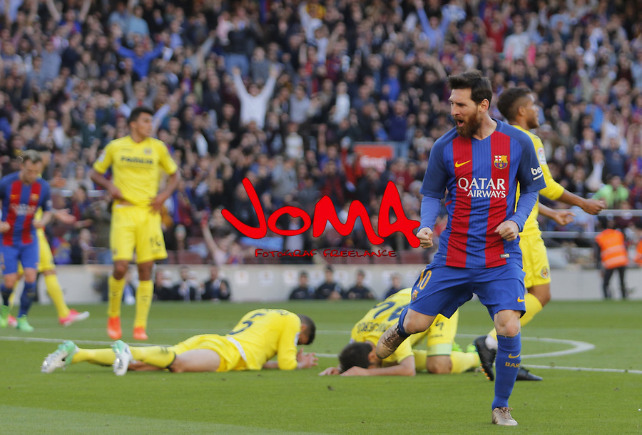 06.05.2017 Barcelona. La Liga game 31. picture show Leo Messi after score during game between FC Barcelona against Villarreal at Camp Nou