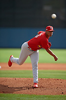 Palm Beach Cardinals starting pitcher Johan Oviedo (46) during a Florida State League game against the Charlotte Stone Crabs on April 14, 2019 at Charlotte Sports Park in Port Charlotte, Florida.  Palm Beach defeated Charlotte 5-3.  (Mike Janes/Four Seam Images)