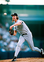 Randy Johnson of the Seattle Mariners during a game at Anaheim Stadium in Anaheim, California during the 1997 season.(Larry Goren/Four Seam Images)