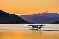 Float plane prepares to take off from Naknek lake, Katmai National park, southwest, Alaska.