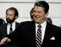 Washington DC., USA, 1984<br /> President Ronald Reagan waves good bye on the driveway. Credit: Mark Reinstein/MediaPunch