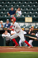 Clearwater Threshers right fielder Zachary Coppola (19) follows through on a swing during a game against the Bradenton Marauders on April 18, 2017 at LECOM Park in Bradenton, Florida.  Clearwater defeated Bradenton 4-2.  (Mike Janes/Four Seam Images)