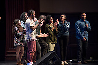 Ashley Rivera '19 and Austin Wilson '19, the charismatic and welcoming hosts of Apollo Night. Cheering crowds vote. Darla Howell '20 wins the top prize at Apollo Night 2017.<br /> Occidental College students perform and compete during Apollo Night, one of Oxy's biggest talent showcases, on Feb. 24, 2017 in Thorne Hall. Sponsored by ASOC and hosted by the Black Student Alliance as part of Black History Month.<br /> (Photo by Marc Campos, Occidental College Photographer)