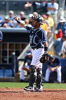 Tampa Bay Rays catcher Mayo Acosta (60) during a spring training game against the Boston Red Sox on March 25, 2014 at Charlotte Sports Park in Port Charlotte, Florida.  (Mike Janes/Four Seam Images)