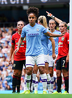 20190907 – MANCHESTER, ENGLAND: Manchester City's Demi Stokes is pictured during the match between Manchester City Women and Manchester United Women, first game for both of the teams in the Barclays FA Women's Super League , Saturday  7th September 2019 at the Ethiad Stadium, Manchester. PHOTO SPORTPIX.BE | Sevil Oktem