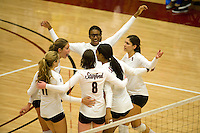 STANFORD, CA - OCTOBER 31: Jessica Fishburn, Alix Klineman, Cassidy Lichtman, Foluke Akinradewo, Janet Okogbaa, and Cynthia Barboza of the Stanford Cardinal during Stanford's 25-22, 25-23, 25-18 win against the Washington Huskies on October 31, 2008 at Maples Pavilion in Stanford, California.