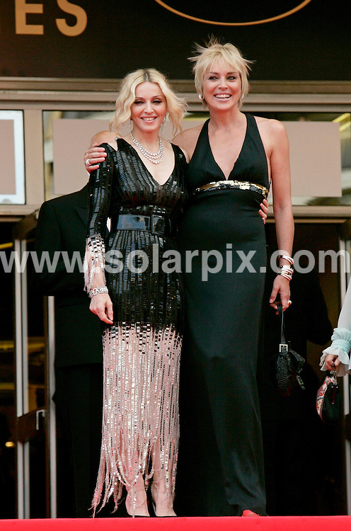**ALL ROUND PICTURES FROM SOLARPIX.COM**.**SYNDICATION RIGHTS FOR UK AND SPAIN ONLY**.guests arrive for the premiere of 'Che' at the 61st Cannes Film Festival, Cannes, France. 21st May 2008..This pic: Madonna and Sharon Stone..JOB REF: 6437 CPR/Hans Heinz   DATE: 21_05_2008.**MUST CREDIT SOLARPIX.COM OR DOUBLE FEE WILL BE CHARGED* *UNDER NO CIRCUMSTANCES IS THIS IMAGE TO BE REPRODUCED FOR ANY ONLINE EDITION WITHOUT PRIOR PERMISSION*