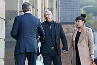 "Pictured: Paul and Gemma Black, the parents of one year old Pearl Black, are greeted by their solicitor as they arrive at the Coroner's Court in Pontypridd, south Wales, UK. Thursday 25 October 2018 Re: The inquest into the death of a toddler who died after a parked Range Rover's brakes failed and it hit a garden wall which fell on top of her will be held at Pontypridd Coroner's Court, Wales, UK today (Thu 25 Oct 2018).<br /> One year old Pearl Melody Black and her eight-month-old brother were taken to hospital after the incident in Merthyr Tydfil, in August 2017.<br /> Pearl's family, father Paul who is The Voice contestant and mum Gemma have said she was ""as bright as the stars""."