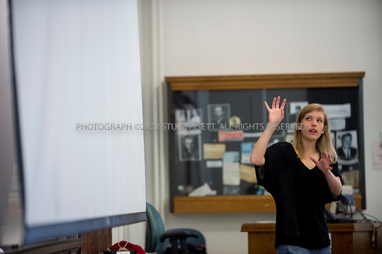5/3/2012--Seattle, WA, USA..Franzi Roesner, a PhD student at the University of Washington, in the Paul Allen Center for Computer Science & Engineering at the main campus in Seattle, WASH. here she teaches a class on automobile technology...©2012 Stuart Isett. All rights reserved.