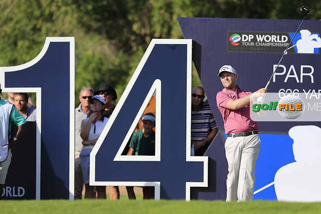 Brandon Grace (RSA) on the 14th tee during Round 1 of the DP World Tour Championship at the Earth course,  Jumeirah Golf Estates in Dubai, UAE,  19/11/2015.<br /> Picture: Golffile | Thos Caffrey<br /> <br /> All photo usage must carry mandatory copyright credit (&copy; Golffile | Thos Caffrey)