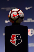 Philadelphia, PA - Thursday January 18, 2018: NWSL Nike soccer ball during the 2018 NWSL College Draft at the Pennsylvania Convention Center.