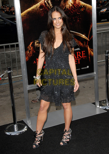 """JORDANA BREWSTER.The Warner Bros. Pictures World Premiere of """"A Nightmare on Elm St."""" held at The Grauman's Chinese Theatre in Hollywood, California, USA..April 27th, 2010.full length black dress sparkly clutch bag strappy sandals .CAP/RKE/DVS.©DVS/RockinExposures/Capital Pictures."""